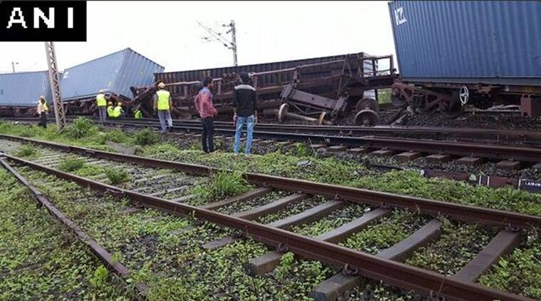 Goods train derails, konkan railway, Labour shortage, slow restoration work, Maharashtra news, Indian express news