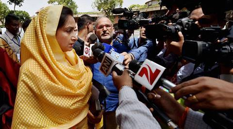 New Delhi: Union Minister Harsimrat Kaur Badal talking to media at Parliament house during the monsoon session in New Delhi on Thursday. PTI Photo by Vijay Verma (PTI7_21_2016_000073A)