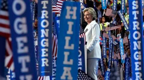 Democratic presidential nominee Hillary Clinton takes the stage to make her acceptance speech during the final day of the Democratic National Convention in Philadelphia , Thursday, July 28, 2016. (AP Photo/Paul Sancya)