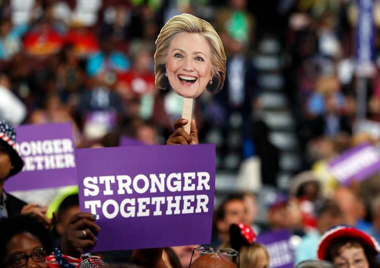 Delegates hold up signs to show their support for Democratic Presidential candidate Hillary Clinton during the third day session of the Democratic National Convention in Philadelphia, Wednesday, July 27, 2016. (AP Photo/Carolyn Kaster)