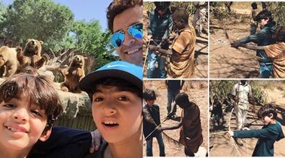 Hrithik Roshan takes his 'little warriors' Hrehaan and Hridhaan on a wild trip, see pics