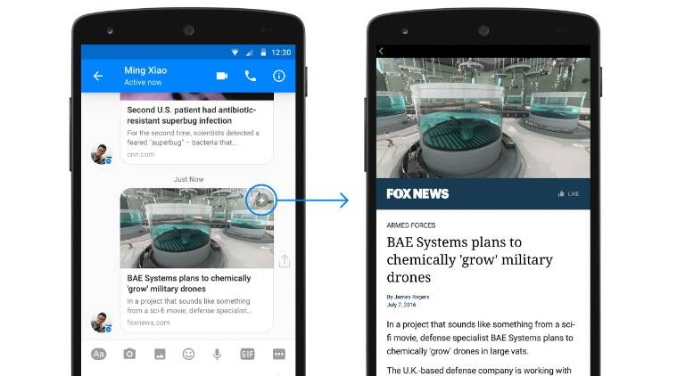 Facebook Messenger will now support Instant Articles