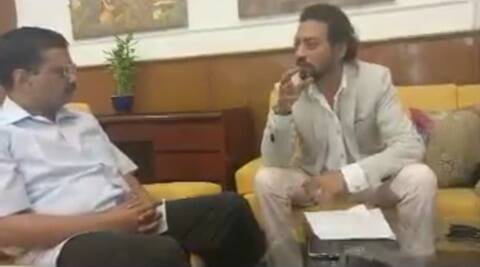 Irrfan Khan meets Arvind Kejriwal amid  'Madaari' promotions, watch video