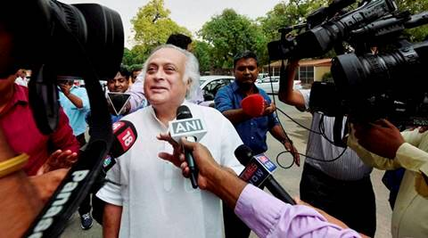 New Delhi: Jairam Ramesh talking to media at Parliament House during the monsoon session in New Delhi on Monday. PTI Photo by Shahbaz Khan(PTI7_25_2016_000129A)