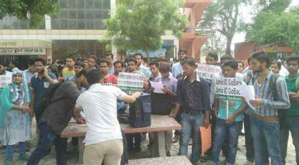 students of the university organised a protest in campus on Tuesday