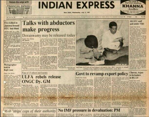 Tracing 25 years of Economic Reforms in India through Indian Express' front pages