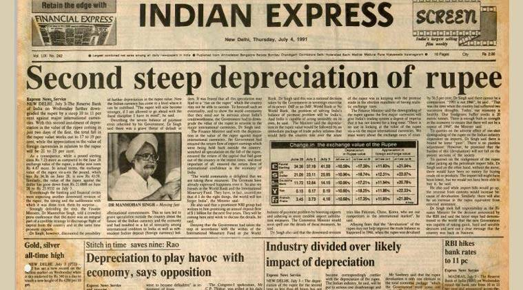 The front page of the Indian Express on July 4, 1991