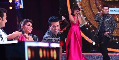 Jacqueline Fernandez, Karan Johar play the clown during Jhalak Dikhhla Jaa shoot, see pics