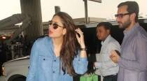 Kareena Kapoor shows off the pregnancy glow as she boards a flight with Saif Ali Khan