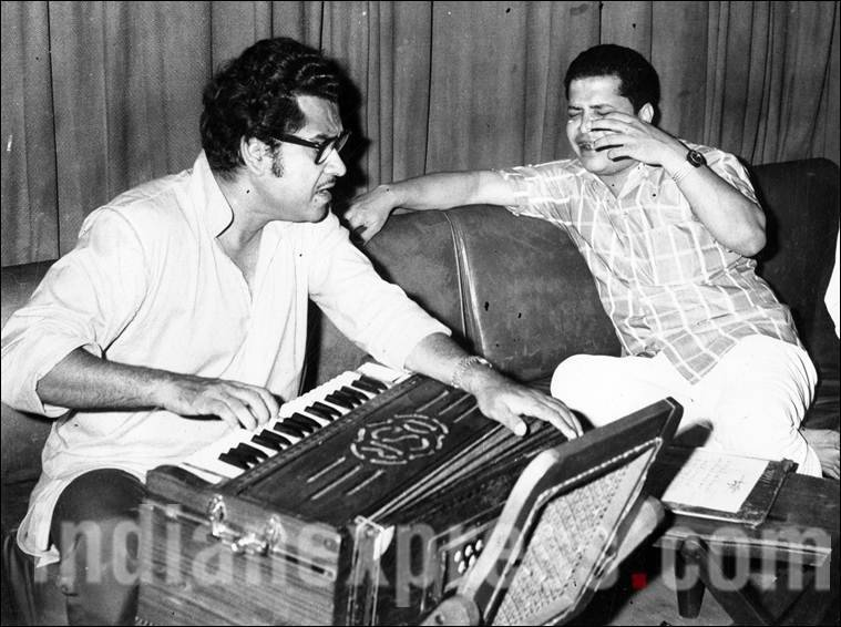 Kishore Kumar and Music director Laxmikant. (Source: Express archive photo)