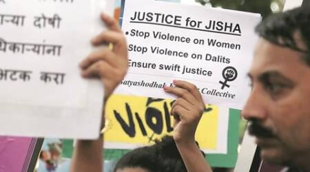 Protestors hold placards during a protest in Dadar Mumbai, demanding justice for Jisha, a law student whose body was found mutilated more than a week back in Perumbavoor, Kerala. Express Photo by Amit chakravarty. 11.05.2016. Mumbai.
