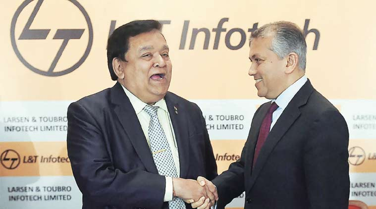 Pramit Jhaveri (right), CEO of Citi India with Anil Manibhai Naik, Group Executive Chairman of Larsen & Toubro Limited during a press conference announcing the IPO plans for L&T Infotech in Mumbai on Monday. (Source: PTI)