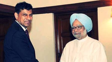 Prime Minister Manmohan Singh with RBI Governor Raghuram Rajan at a meeting in New Delhi. (Source: PTI/File)
