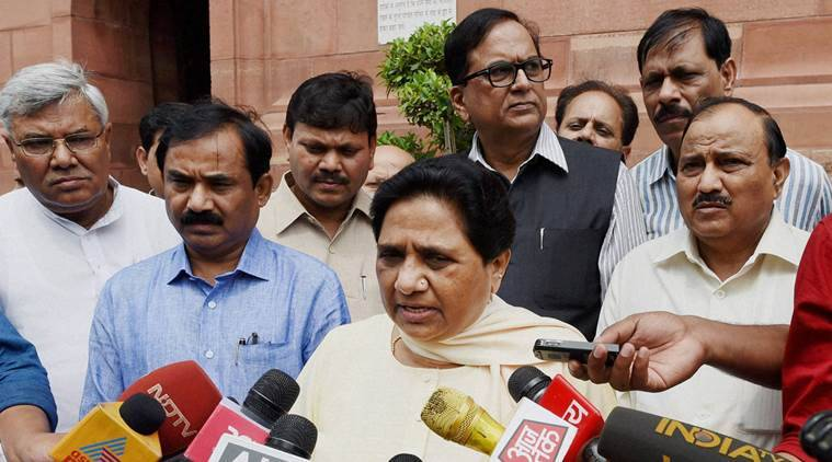 New Delhi: BSP supremo Mayawati addresses media at Parliament house during the monsoon session in New Delhi on Tuesday. PTI Photo by Subhav Shukla(PTI7_26_2016_000135B)