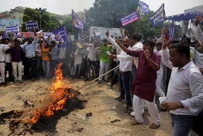 Daya Shankar Singh remark on Mayawati: BSP supporters hold massive protest