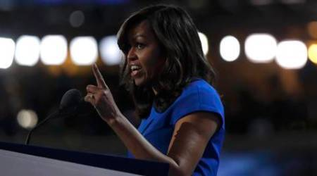 U.S. first lady Michelle Obama speaks during the first session at the Democratic National Convention in Philadelphia, Pennsylvania, U.S. July 25, 2016.  REUTERS/Jim Young