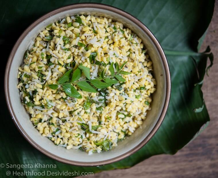 Mung Dal Kosambari from Karnataka is made with raw split mung or split chickpeas.