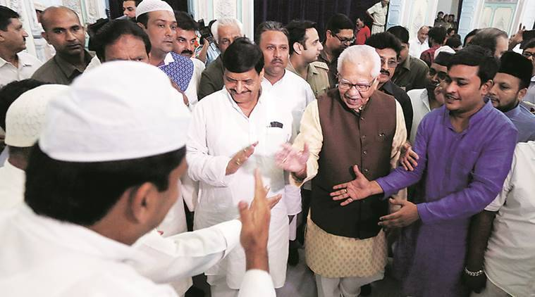 Uttar Pradesh Governer Ram Naik Along with PWD Minister of State Shivpal Singh Yadav at a Roza Iftar party organised by Raj Bhawan in Lucknow on monday.Express photo by Vishal Srivastav 04.07.2016