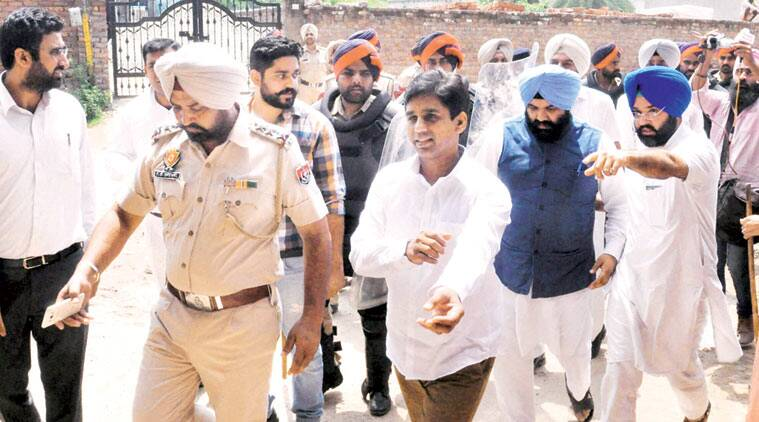 AAP MLA Naresh Yadav arrives for questioning in Patiala on Tuesday. Harmeet Sodhi