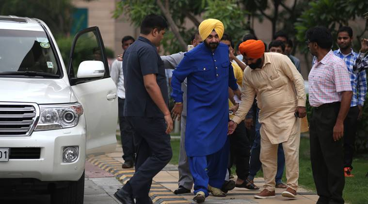Navjot Singh Sidhu during the press conference he held over speculations on his political career, outside his residence at the CWG Village in the Capital New Delhi on monday. Express Photo by Tashi Tobgyal New Delhi 250716