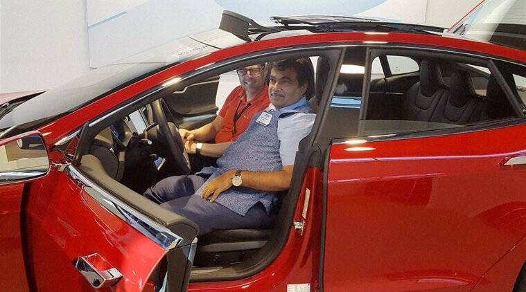 San Francisco: Union Minister for Road Transport & Highways and Shipping Nitin Gadkari visits the Tesla electric car manufacturing unit, in San Francisco on Friday. PTI Photo(PTI7_16_2016_000066A)