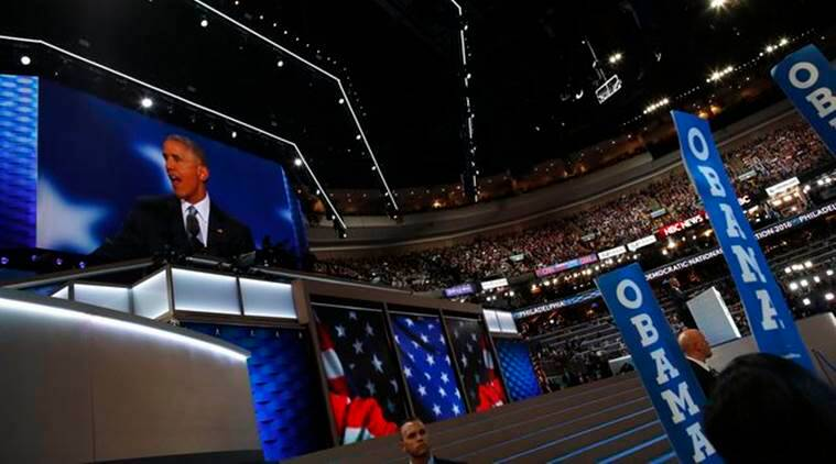U.S. President Barack Obama speaks on the third night at the Democratic National Convention in Philadelphia, Pennsylvania, U.S. July 27, 2016. REUTERS/Carlos Barria