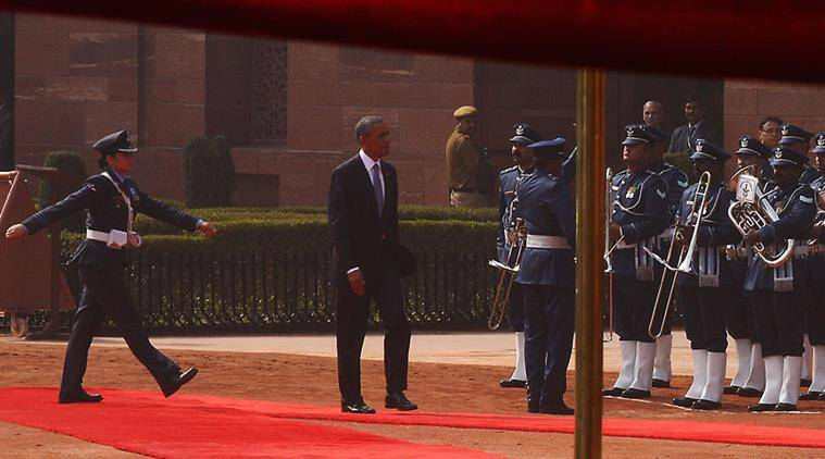 Wing Commander Pooja Thakur (Left) of the Inter Service Guard of Honour part takes during the Presidential reception for the US President Barack Obama at the Rashtrapati Bhavan in New Delhi on sunday. Express Photo by Neeraj Priyadarshi New Delhi 250115