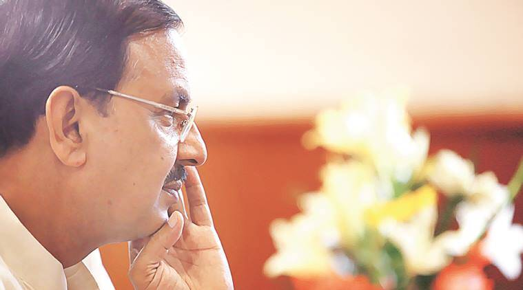 Dr. Mahesh Sharma, Minister of State for Culture (Independent Charge), Tourism (Independent Charge) and Civil Aviation, at his office in New Delhi on August 8th 2015. Express photo by Ravi Kanojia.