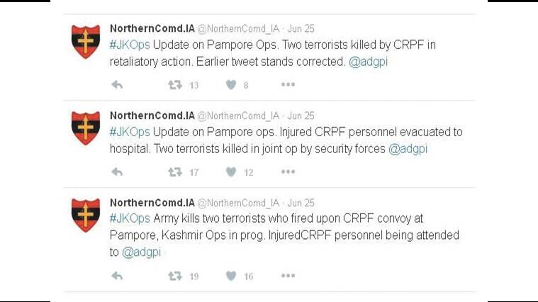 pampore attack, army on social media, social media, army tweeted, army changed tweets, crpf, J&K attack, Twitter handle of the Army's Udhampur-based Northern Command, @northerncomd_IA, army twitter handle, pampore attack updates, contradicting tweets, army contradicting tweets, indian express news, india news