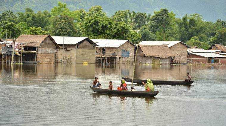 Assam floods, Assam State Disaster Management Authority, Assam flood affected, news, Assam floods Brahmaputra, Brahmaputra floods, India news, Assam floods, national news, latest news, Brahmaputra floods Assam, Assam Brahmaputra floods, Lakhimpur, Dhemaji, Nagaon, Jorhat, Golaghat, Morigaon, Biswanath, CRPF camp Assam, Assam flood relief