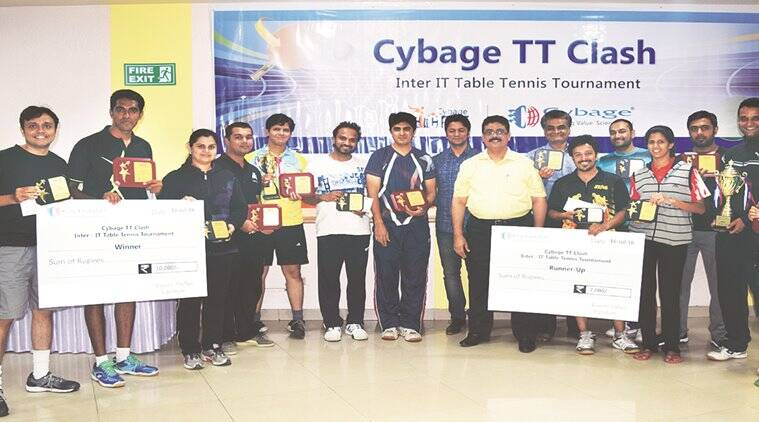 Santosh Wakradkar, Cybage TT tourney, an inter-IT Table Tennis tournament, HSBC, Cybage headquarters, indian express, Cybage TT Clash teams, pune news