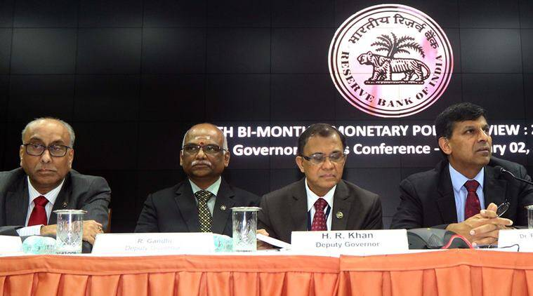 L to R - Deputy Governors RBI, SS Mundra, R Gandhi, HR Khan, RBI Governor Raghuram Rajan,Urjit Pate during a conference Sixth Bi-Monthly Monetary Policy Review 2015/2016. Express Photo By Ganesh Shirsekar 02/02/2016 *** Local Caption *** L to R - Deputy Governors RBI, SS Mundra, R Gandhi, HR Khan, RBI Governor Raghuram Rajan,Urjit Pate during a conference Sixth Bi-Monthly Monetary Policy Review 2015/2016. Express Photo By Ganesh Shirsekar 02/02/2016