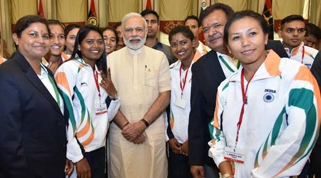 PHOTOS: Narsingh Yadav, Yogeshwar Dutt, Shiva Thapa, athletes meet Narendra Modi before Rio send-off, see pics