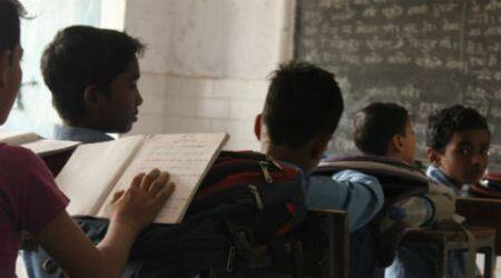 Student at an EDMC school in Seelampur east delhi - Express Photo