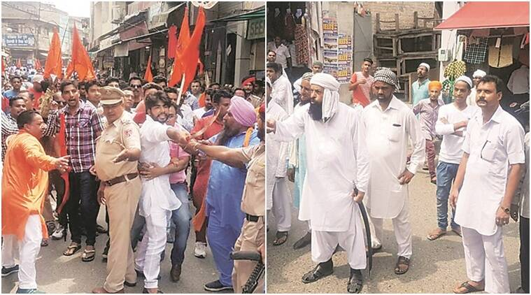 Shiv sena. shiv sena muslim clash, communal protest in phagwara, muslim shiv sena clash, latest news, india news