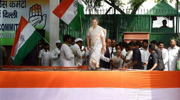 Congress president Sonia Gandhi during the launch of poll campaign in Uttar Pradesh, in party headquarters in New Delhi on Saturday. (Source: PTI)