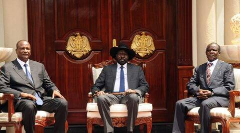 South Sudan's President Salva Kiir poses for a photograph with First Vice President Taban Deng Gai and Second Vice President James Wani Igga at the Presidential Palace in the capital of Juba