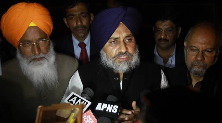 Punjab Dy chief Minister Sukhbir singh Badal talking to media after meeting with BJP president Amit Shah and Arun Jaitley at Shah residence in new Delhi on Tuesday. Express Photo by Prem Nath Pandey. 09.02.2016.
