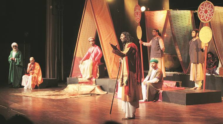 A staging of the play, Kabira Khara Bazar Mein, under way during Humsaya — Theatre for Peace Festival, at Tagore theatre in Chandigarh. (Express Photo by Jasbir Malhi)