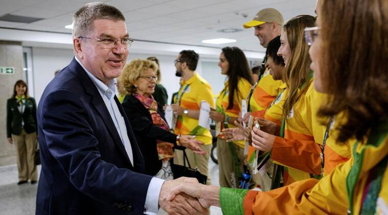 Thomas Bach, President of the International Olympic Committee, is welcomed in Rio de Janeiro