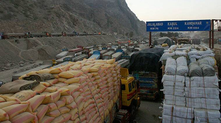 Backed up trucks at the closed Torkham border into Afghanistan. (Source: AP/File)
