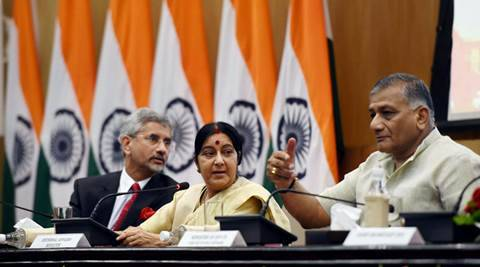 New Delhi: External Affairs Minister Sushma Swaraj with MoS V K Singh and Foreign Secretary S Jaishankar at a press conference in New Delhi on Sunday. PTI Photo by Subhav Shukla (PTI6_19_2016_00158B)