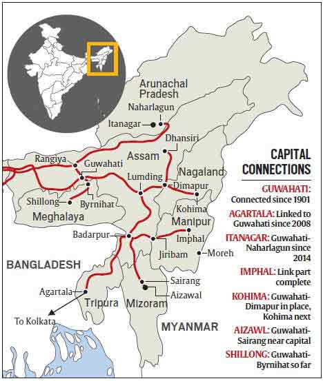 North East on track to connect capitals by train | India News, The on north middle states and capitals, northeastern states map with capitals, northeast us map with capitals, northeast usa map with capitals, east region states and capitals, northeastern usa state and capitals, north east united states map, middle east states and capitals,