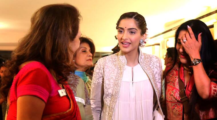 Sonam Kapoor's been sporting a lot of Indian wear these days. (Source: Express photo by Nirmal Harindran)