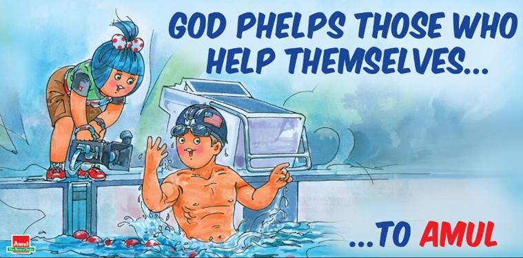 Amul congratulated Phelps saying: 'Flying Fish' rules the pool with Olympic records! (Source: Amul/ Twitter)