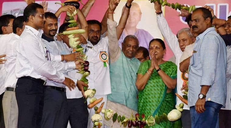 Anandiben Patel, Anandiben Patel resignation, Anandiben Patel quit, Anandiben Patel BJP, BJP, gujarat bjp, bjp headquarters Gandhinagar, Gujarat first woman CM, gujarat news, india news