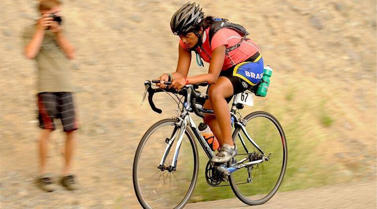 She's like the wind: Anu Vaidyanathan during a triathlon.