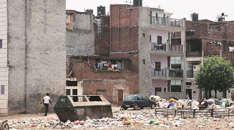 Garbage dumped at Charan Singh Colony at Mauljagran in Chandigarh . Express file photo