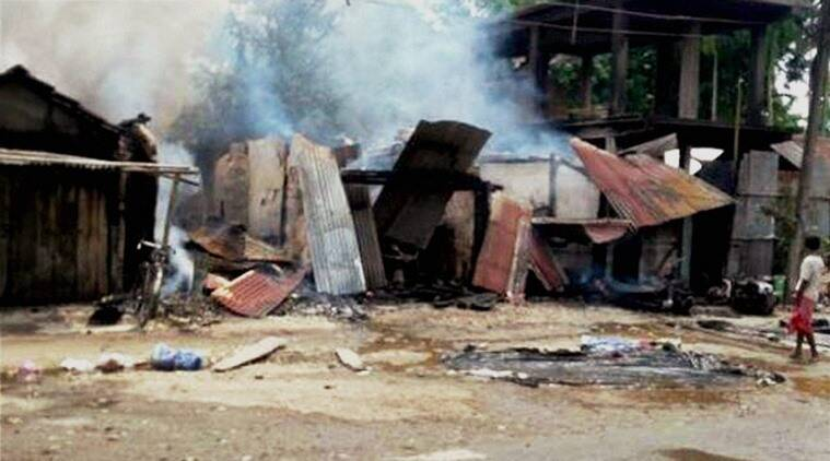 Kokrajhar: The damaged shops after unidentified terrorists armed with assault rifles and grenades attacked a market at Kokrajhar in Assam on Friday. PTI Photo  (PTI8_5_2016_000114A)