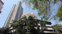 Sensex slips from record, edges down on F&O expiry